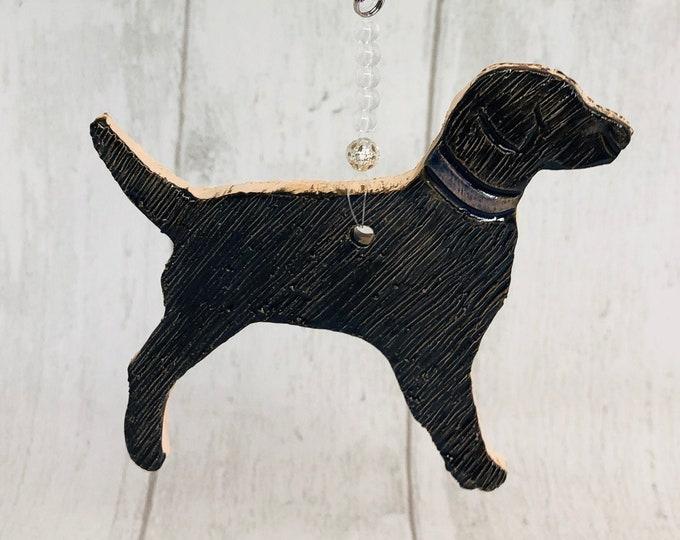 Black Labrador Ornament, Pottery Dog, Clay Dog Ornament, Home Decoration, Ceramic Handmade Ornaments, Home Interiors, Sussex Pottery UK.