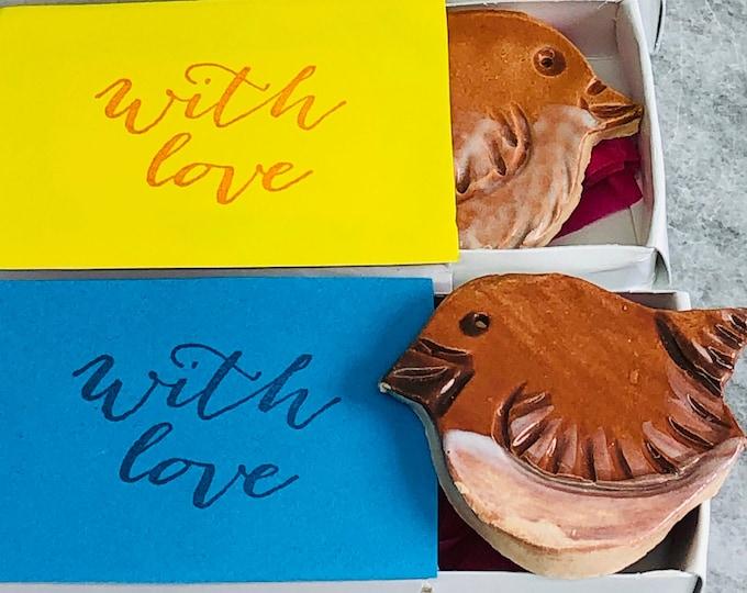 Garden Wren Bird Ceramic Brooch, Handmade Clay Birds, Fun Garden Birds, Quirky Pottery Badge, Whimsical Pin, Gift For Her, Gift For Him.