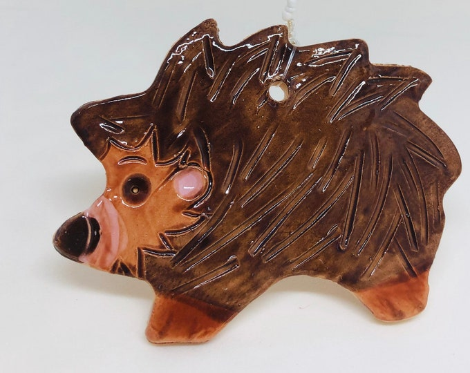 Hedgehog, Hoglet, Wildlife, Nature, Handmade Pottery Ornament, Birthday, Anniversary, Girlfriend, Boyfriend, Mothers Day, Easter Gifts.