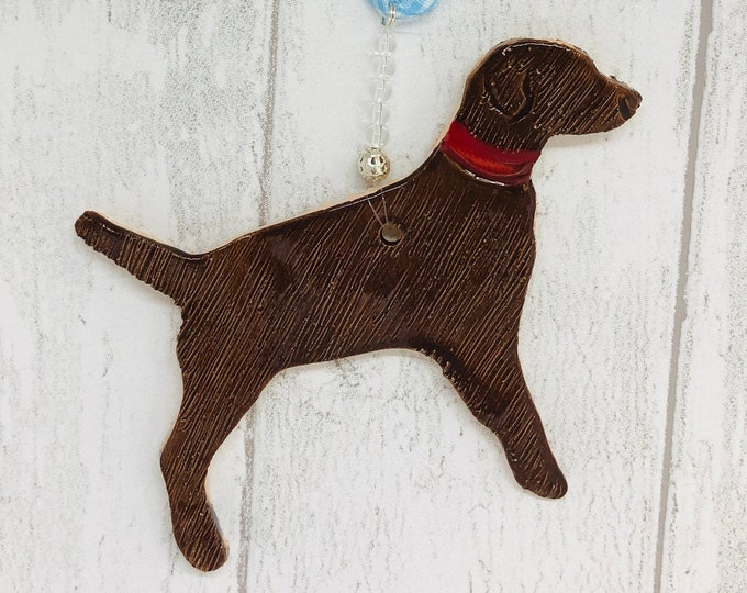 Handmade Ceramic Brown Dog Ornament, Pottery Dogs, Love Labrador Dogs, Pet Pooch, Woof, Clay Ornaments, Home Decorations, Sussex Ceramics UK