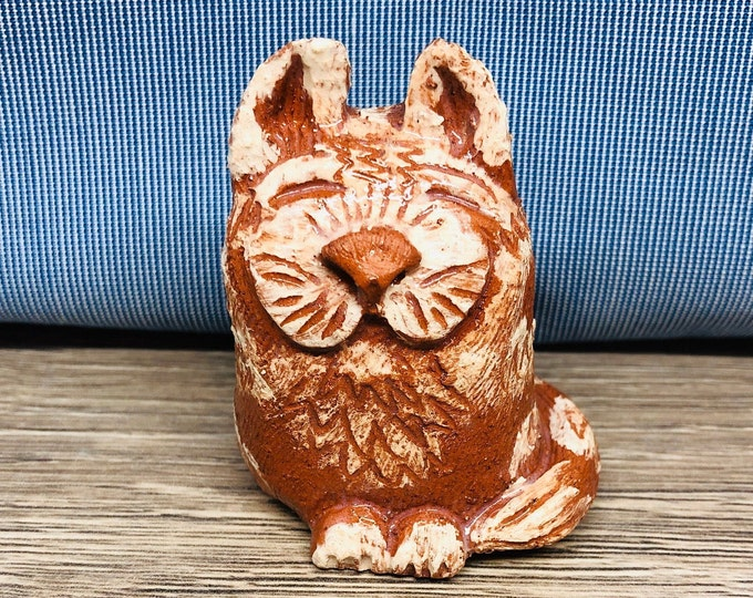 Pottery Ginger Cat, Love Cats, Meow, Handmade Ceramic Kitty Cat, Kitten. Cat Lover, Cat Friend, Made In My Sussex Pottery Out Of Clay.