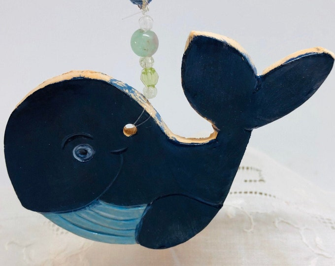 Whale Pottery Ornament, Hanging Decoration, Handmade, Clay, Ceramic, Sea, Gift for her, him, Birthday, Whales, Seaside, Easter, Fathers Day.