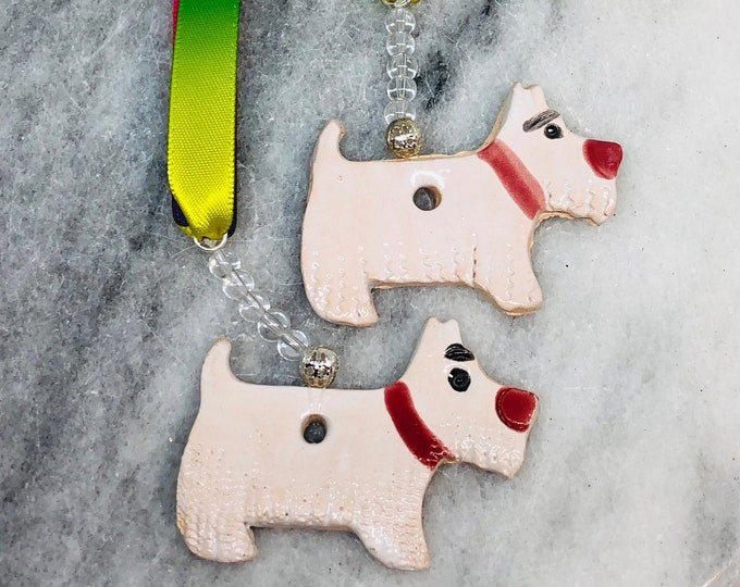 West Highland Terrier, Handmade Pottery Westies,  Dogs, Ornaments, Pooch, Pet, Birthday, Anniversary, Mothers Day, Gift for Her, Him, Easter