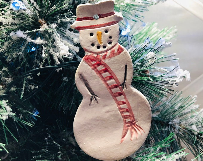 Snowman, Xmas Tree Pottery Decoration, Christmas Gifts, Gifts for Friends, Gifts for Her, Gifts for Him, Stocking filler, Handmade Ceramics.
