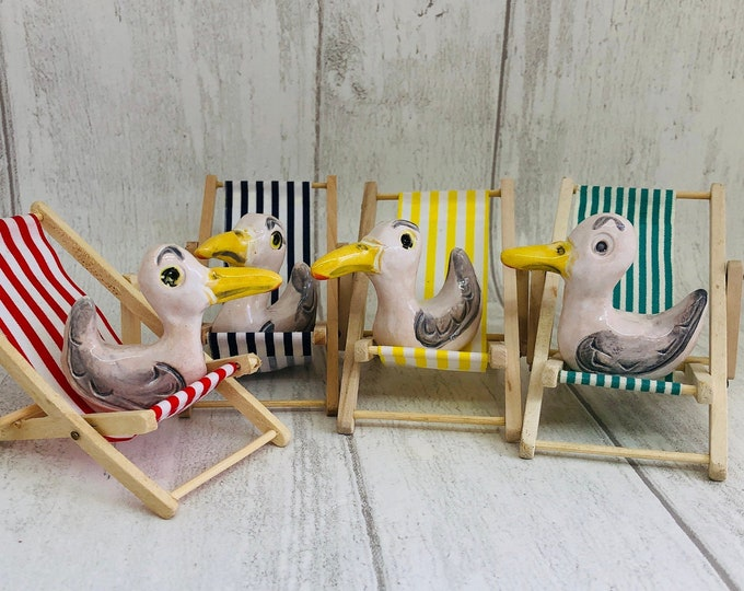 Seagull Pottery Ornament, Bird, Quirky Fun, Funny Birds on their Miniature Deckchair, Gift for Her, Him, Anniversary, Birthday, Fathers Day.