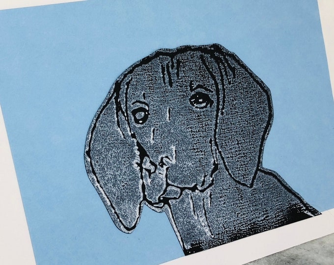 Weimaraner Dog Hand Printed Card, Handmade Greetings Card, Love Dogs, Pet Dogs, Woof, Fur Baby, Birthday Cards, Anniversary, Fathers day.