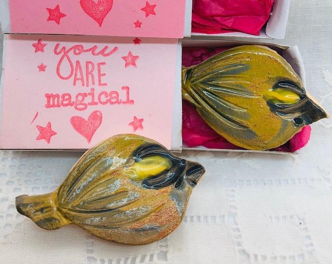 Gold Crest Bird, Pottery Brooch, Handmade, Birds, Nature, Anniversary, Birthday, Garden, Gardener, Gift for her, Him, Mothers Day, Easter.