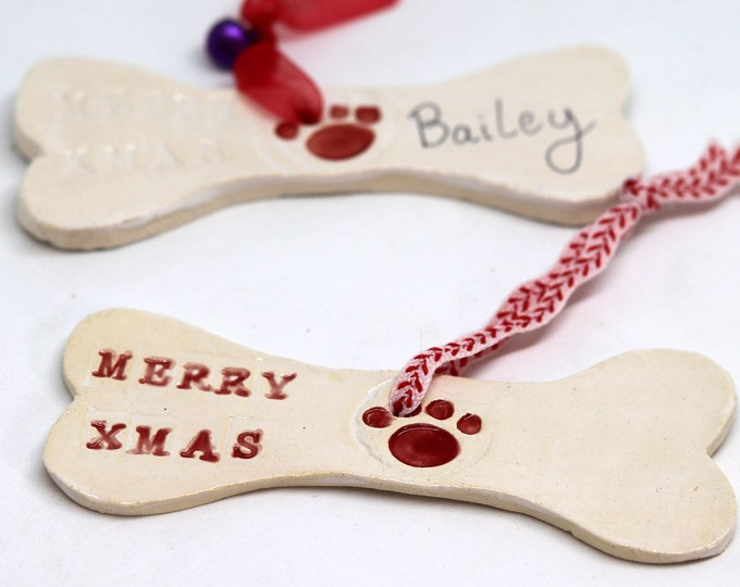 Merry Christmas Dog Bone Xmas Tree Decoration, Personalise your Dog gift with your dogs name for your home decor to help say Merry Christmas