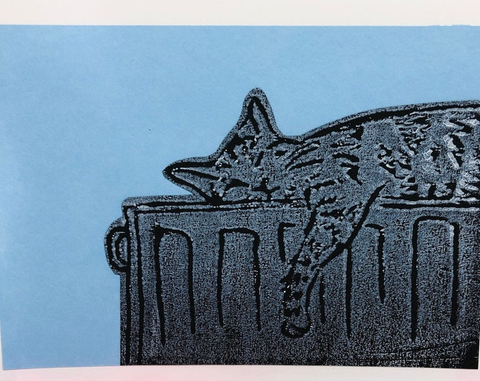 Tabby Cat Hand Printed Card, Handmade Kitty Greetings Card, Love Cats, Feline Birthday Card, Anniversary, Fathers Day Cards.
