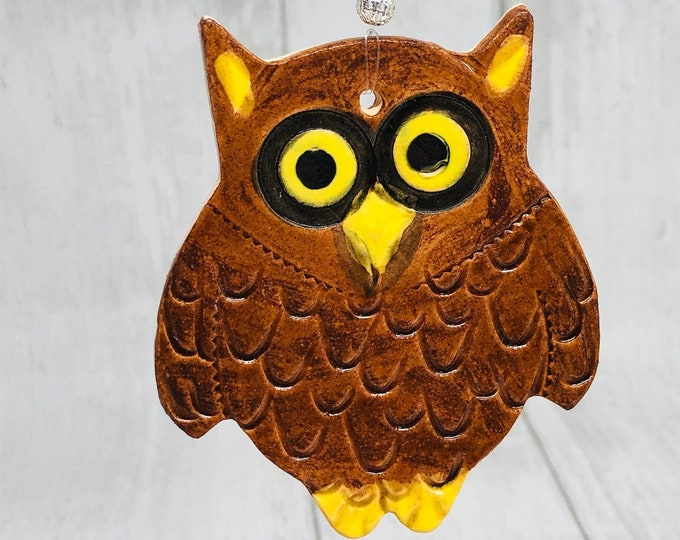 Owl, Handmade Pottery Ornament, Bird, Nature, Wildlife, Home Decoration, Gift for Her, Him, Birthday, Anniversary, Fathers Day Gift, Easter.