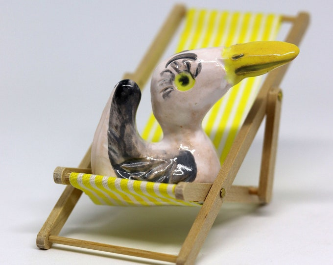 Bird, Beach, Seagull, Miniature, deckchair, Ornament, Figurine,Pottery, Gull, Anniversary, Fathers Day, Anniversary, Birthday, Christmas.