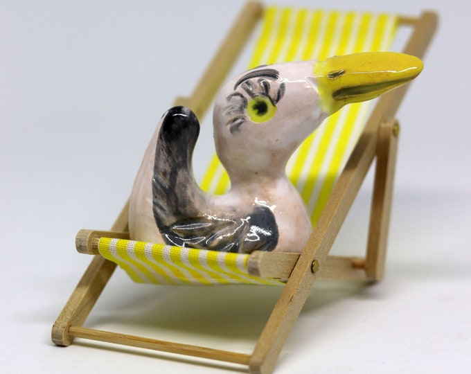 Pottery Seagull on her deckchair, Ornament, Figurine, bird, Gull, Miniature, mini pet friend, Easter,  Valentines Day, Anniversary, Birthday