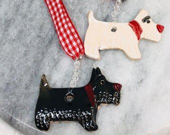Pottery West Highland Terrier, Ceramic Scottish Highland Terrier, Westie Dog, Ornament, Pooch, Clay Ornaments, Dog Decorations, Home Decor.