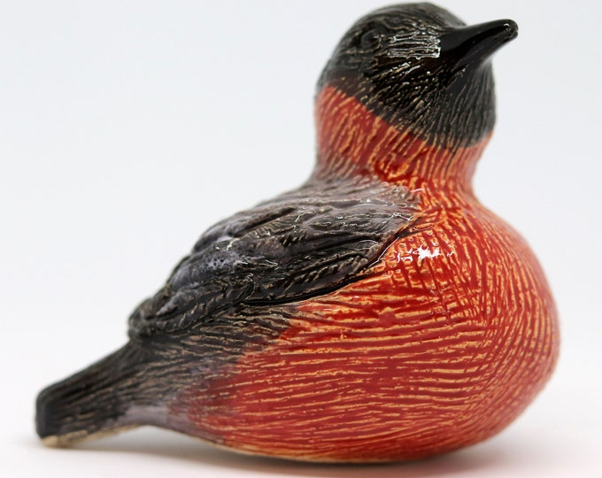Bullfinch Bird, Wildlife Bird made with buff clay hand painted with red, black & grey glazes. Miniature Finch, Garden Bird Pottery Ornament.