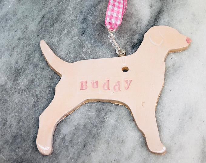 Buddy, Pottery Ornament, Dog Gifts, Woof, Love Dogs, Handmade Dogs, Ceramics, Mothers Day, Fur Baby, Gifts for Her, Him, Easter, Woof, Pet