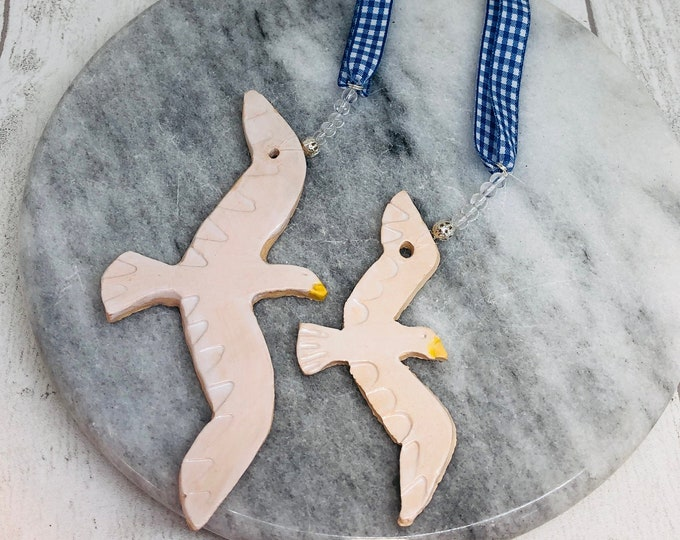 Brighton Seagulls, Ornament, Beach, Sea, Seaside, Home Decoration, Interiors, Gift for him, Her, Handmade Pottery Birds, Fathers Day, Easter