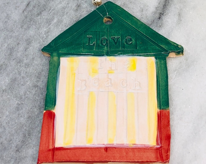 Love the Beach, Hut Ornament, Love Brighton, Hove Huts, Seaside, Beach, Seaside, UK, Her, Him, Birthday, Anniversary, Mothers Day, Easter.