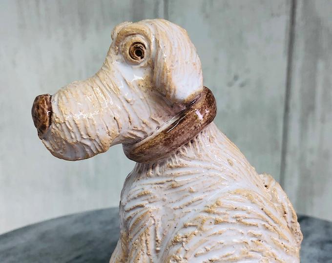White Dog Ornament, Love Dogs, Pottery Pooch, Pet, Ceramic Figurine, Sculpture, Ceramic Ornaments, Home Decor, Home Interiors.