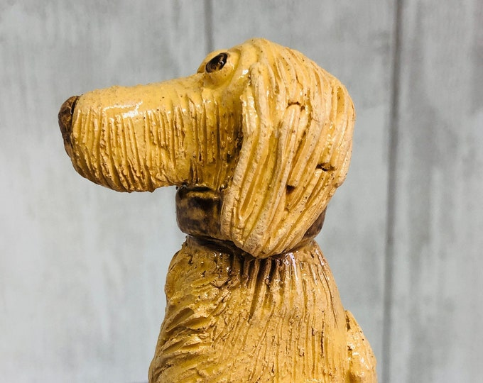 Little Yellow Pottery Dog Ornament, Dog Figurine, Ceramic Sculpture, Love Dogs, Pet Ornaments, Handmade  Clay & Fired In My Kiln, Sussex UK.