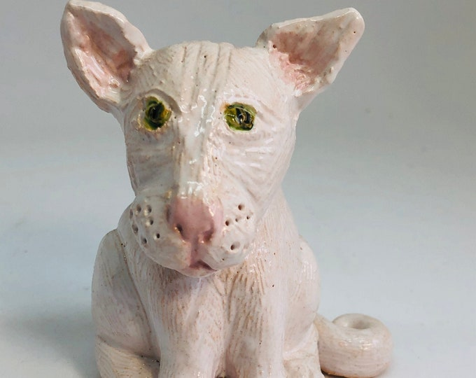 Cat, Kitten, White Kitty Cat, Feline Pottery Ornament, Cats Figurine, Decor, Birthday, Anniversary, Gift for Her, Him, Mothers Day, Easter.