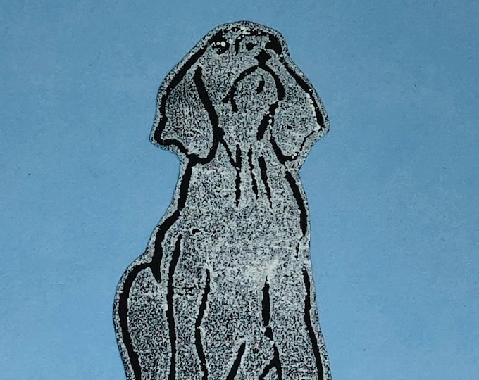 Dog Hand Printed Card, Handmade Greetings Card, Weimaraner Dog, Hound, Hounds,  Love Dogs, Birthday, Anniversary, Fathers Day Cards.