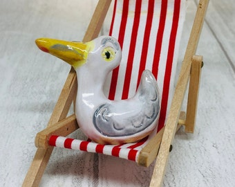 Seagull Pottery Ornament On His Mini Red Deckchair, Fun Bird, Funny Miniature Birds, Kiln Fired Clay, Sussex Ceramics UK, Home Interiors.