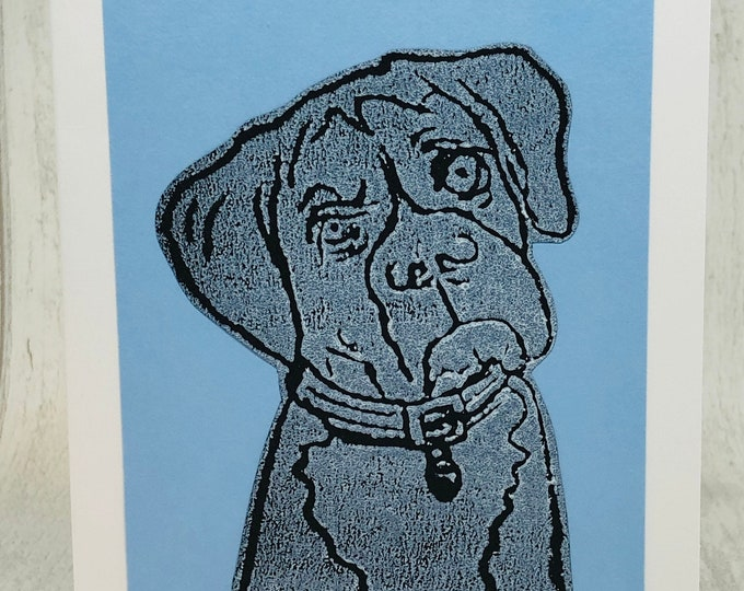 Boxer Dog, Hand Printed Card, Handmade Greetings Card, Love Dogs, Woof, Birthday Card, Anniversary, Easter, Fathers day, Pets.