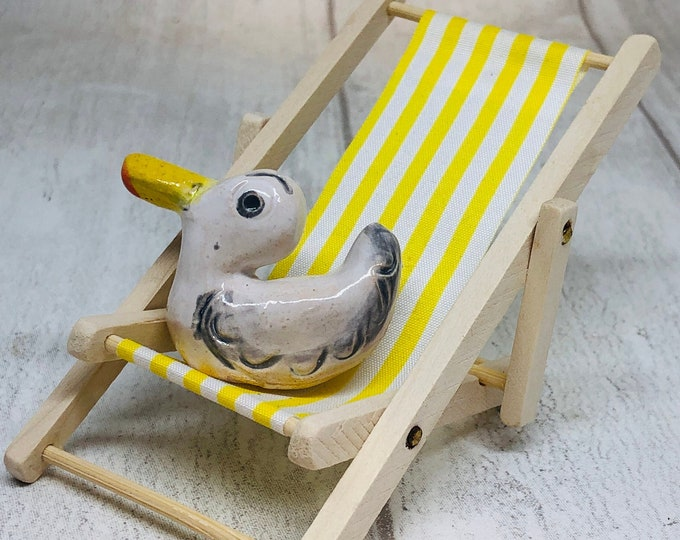 Seagull Pottery Ornament On His Yellow Deckchair, Quirky,  Funny Bird, Home Decoration, Seaside Fun, Kiln Fired Clay, Sussex Ceramics UK.