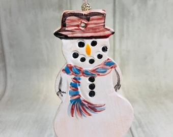 Snowman Pottery Ornament, Christmas Gifts, Handmade Ceramic Xmas Tree Ornaments, Sussex Ceramics UK, Kiln Fired Clay, Home Decoration.