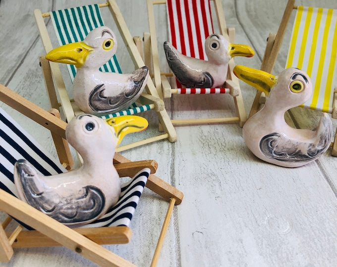 Fun Seagull Pottery Ornament, Funny Ceramic Bird, Beach, Miniature Deckchair, Mini, Home Decor, Her, Him, Anniversary, Birthday, Fathers Day