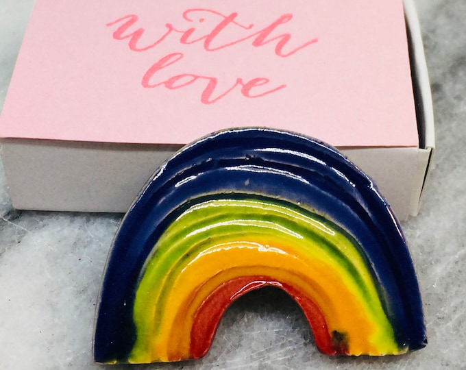 Rainbow Handmade Pottery Brooch, Love Rainbows, Ceramic Badge, Quirky, Fun Gift, Love Rainbows, Sussex Pottery UK, Colourful, Bright Colours