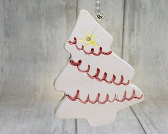Handmade Ceramic Christmas Tree Decoration, Made In My Sussex Pottery and Fired In My Kiln, Xmas Tree Ornament, Clay Ornaments, Home Decor.