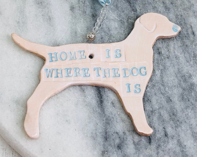 Dogs, Home is Where the Dog is Pottery Ornament, Dog Gifts, Woof, Love Dogs, Stocking Filler, Christmas Gifts, Handmade Pottery, Ceramics.