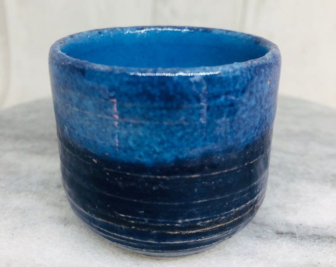 Blue Wheel Thrown Pottery Pot, Handmade Sussex Ceramics UK, Ceramic Ring Bowl, Ornament, Kiln Fired Clay,, Home Decor, Jewellery Dish.