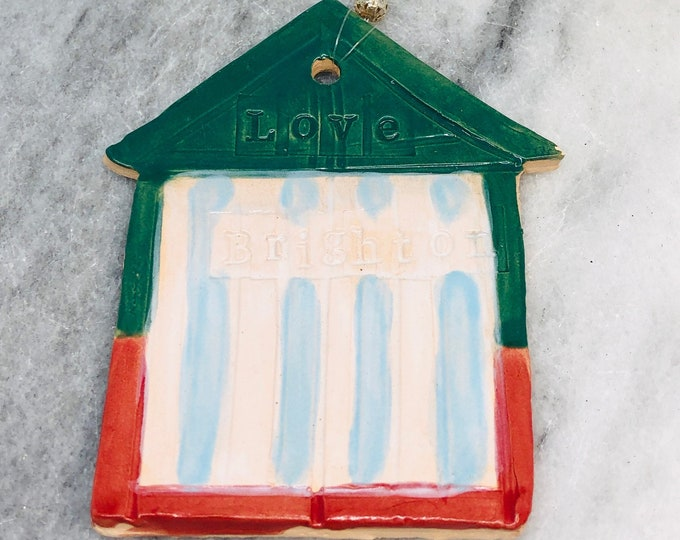 Beach Hut Ornament, Love Brighton, Hove Beach Huts, Sea, Beach, Seaside, UK, Gift for Her, Him, Birthday, Anniversary, Mothers Day, Easter.