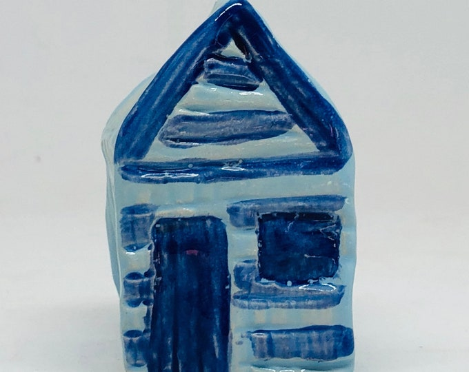 Beach Hut Pottery Ornament, Mini Blue Seaside Hut, Beach, Sea, Gift for Him, Boyfriend, Father, Dad, Husband, Birthday, Mothers Day, Easter.
