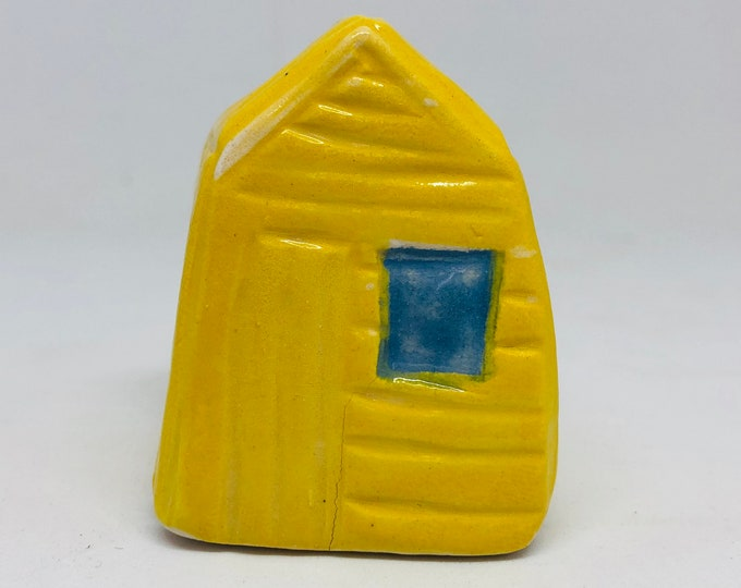 Yellow Beach Hut Pottery Ornament, Mini Seaside Hut, Sea, Gift for Him, Gift Her, Boyfriend, Father, Husband, Birthday, Mothers Day, Easter.