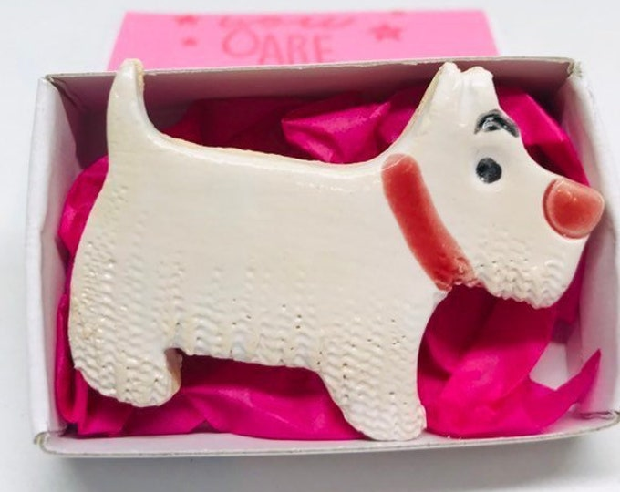 Pottery White West Highland Terrier Brooch, Pin, Handmade, Clay, Dog, Westie, Love Dogs, Easter,  Valentines Day, Anniversary, Birthday.