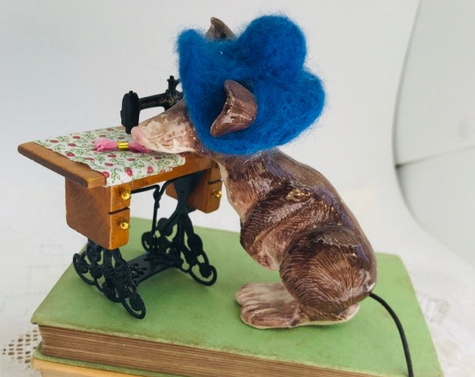 Sewing Mouse, Miniature Sewing Table, Sewing Machine, Happy Birthday, Anniversary, Gift for Her, Love to Sew, Needle Felted removable Hat.