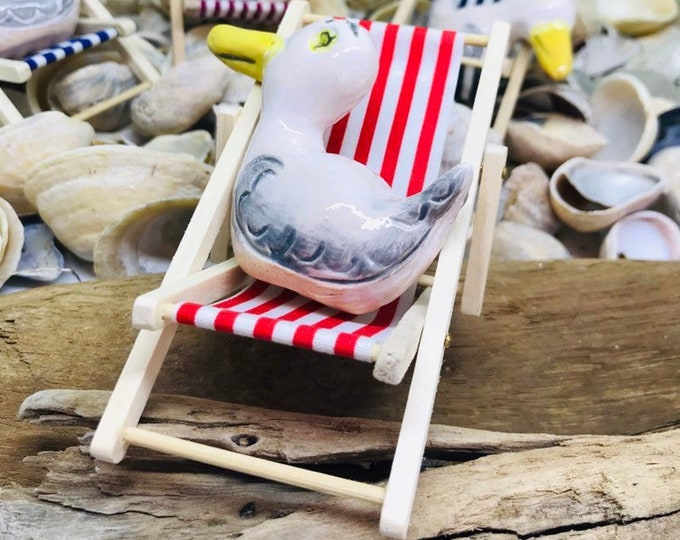 Seagull Pottery Ornament on his deckchair, Anniversary,  Fathers Day, Anniversary, Birthday, Collectable, Miniature, Gull, Comical Bird.