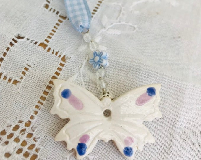 Butterfly Pottery Ornament, Hanging decoration, Blue and White Gingham Ribbon, Gift for Her, Happy Birthday, Anniversary, Christmas, Love.