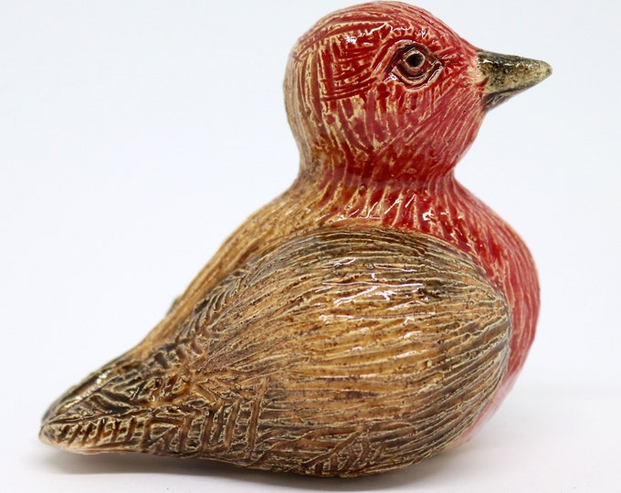Ronnie the robin ceramic sculpture, a cute pottery bird made out of clay in my Sussex studio. He just needs a new little nest for his home.