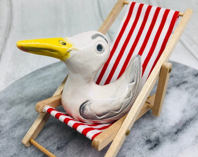 Seagull Pottery Ornament on his deckchair, Miniature, Gull, Comical Bird, Anniversary, Birthday, Gift for her, him, Mothers Day, Easter.