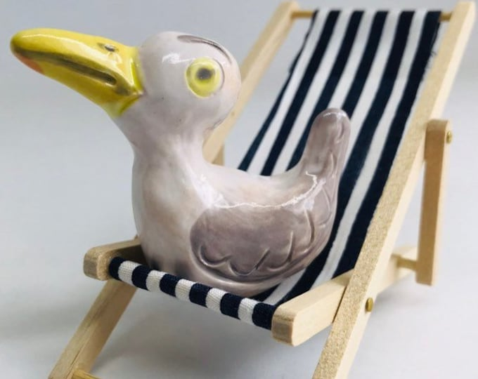 Pottery Seagull on his Blue & white deckchair, Easter,  Valentines Day, Anniversary, Birthday, Collectable, Pottery, Miniature, Gull.