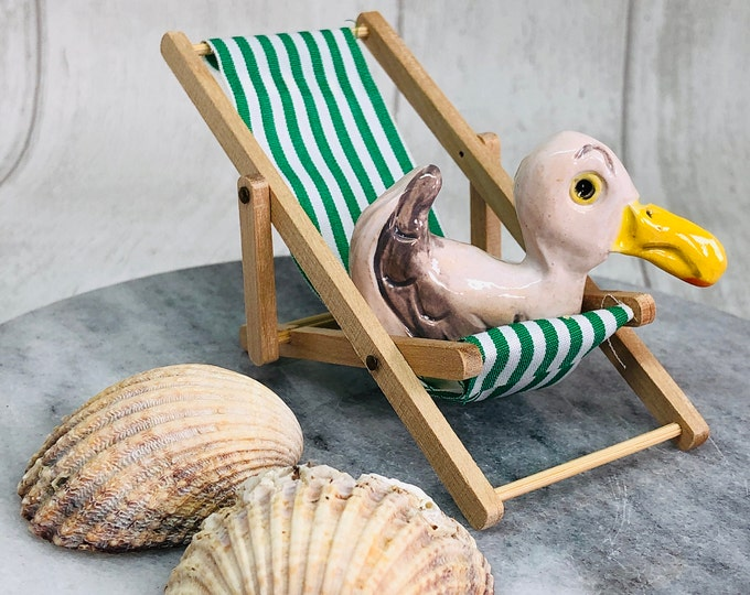 Seagull Pottery Ornament on his deckchair, Fun Christmas Gifts, Stocking Filler, Anniversary, Birthday, Gift for her, Gift for Him, Xmas.