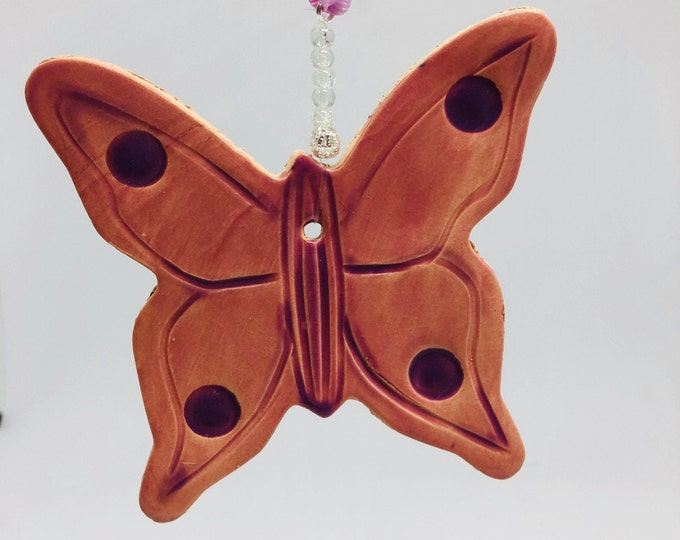 Pretty Handmade Ceramic Butterfly made In My Sussex Pottery UK, Pink Clay Ornament Great For Home Decoration, Hanging Decorative Ornaments.