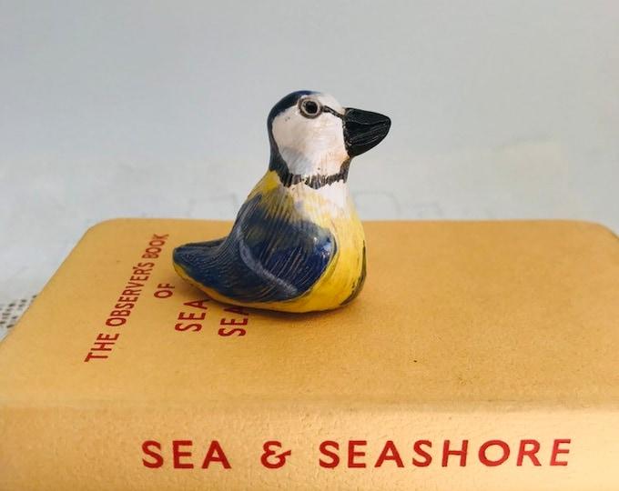 Pottery Blue tit, Blue Bird, Ceramic Bird, Wildlife, Nature, Miniature, Mini Wild Bird, Anniversary, Birthday, Gift for her, Gift for him.
