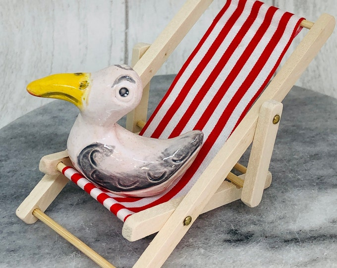 Seagull Pottery Fun Ornament, Deckchair, Miniature, Gull, Comical Bird, Anniversary, Birthday, Gift her, him, Quirky, Mothers Day, Easter