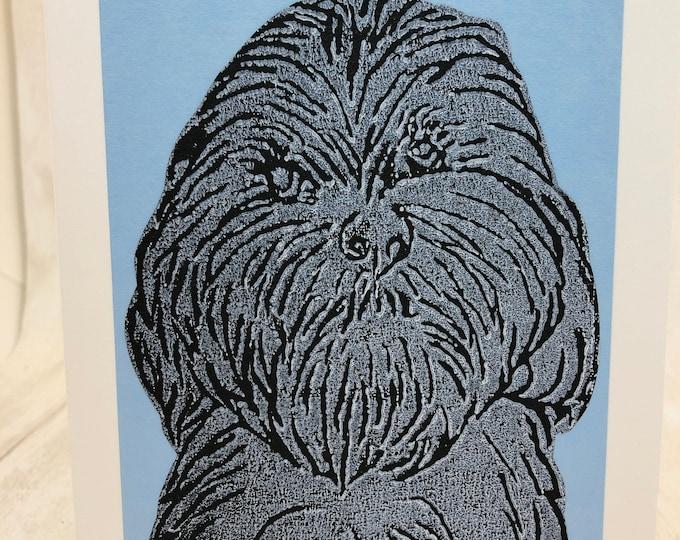 Cockerpoo Dog Hand Printed Card, Handmade Greetings Card, Love Dogs, Birthday Card, Anniversary, Easter, Fathers day, Pet