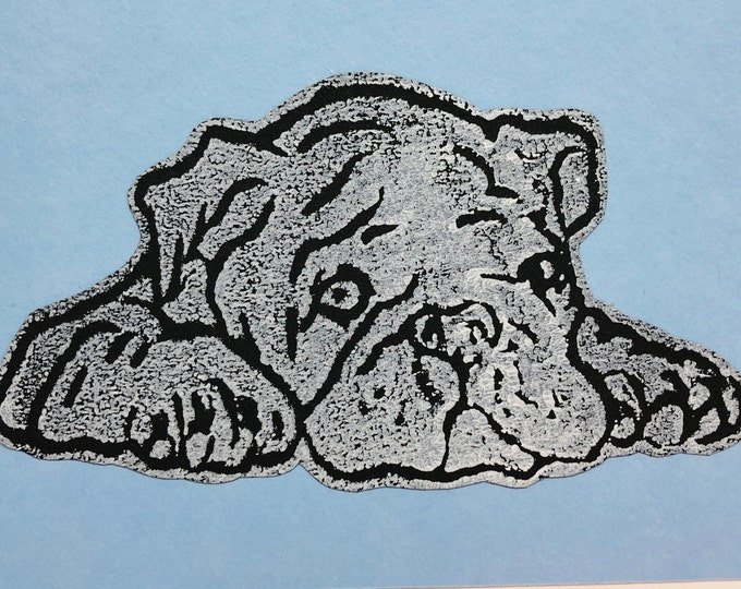 British Bulldog Dog Hand Printed Card, Handmade Greetings Card, Love Dogs, Birthday Card, Anniversary, Easter, Fathers day, Pet